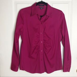 Foxcroft Non-Iron Fitted Fit Button Down Top Sz 6